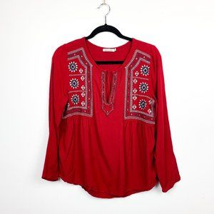 Kenneth Cole Western Embroidered Red Top